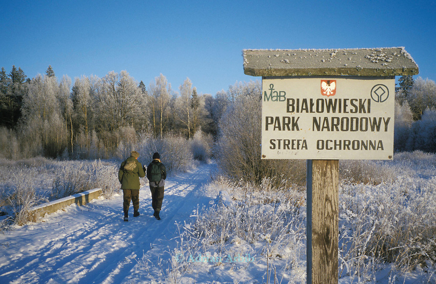 The entrance to  Bialowieza  forest reserve.  Eastern Poland