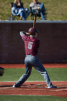Nathan Neff (5) of the Concord Mountain Lions at bat against the Wingate Bulldogs at Ron Christopher Stadium on February 2, 2020 in Wingate, North Carolina. The Mountain Lions defeated the Bulldogs 12-11. (Brian Westerholt/Four Seam Images)