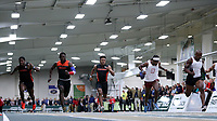 WINSTON-SALEM, NC - FEBRUARY 08: Curtis Carr #8 of Campbell University, Widchard Guervil #7 of Tusculum University, Reggie Barlow #6 of Campbell University, Davonta Womack #5 of Bridgewater College, and Jeff Demps #4 compete in the Men's 60 Meters Final, which was won by Demps in a time of 6.71 seconds at JDL Fast Track on February 08, 2020 in Winston-Salem, North Carolina.