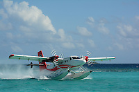 8Q-TMW, DHC-6 Twin-Otter, taking off at Irufushi Resort, Republic of Maldives