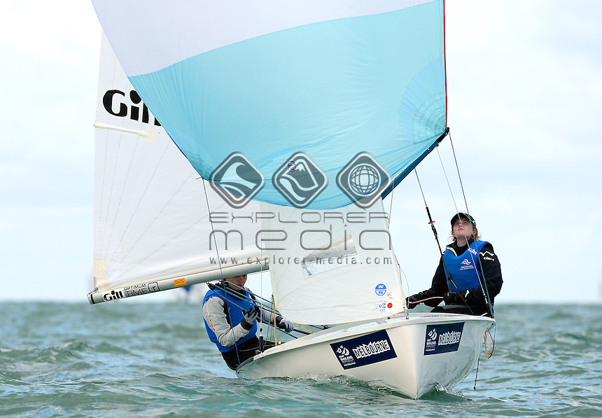 420 / Demi GILBERT &amp; Sophie MCINTOSH (AUS)<br /> 2013 ISAF Sailing World Cup - Melbourne<br /> Sail Melbourne - The Asia Pacific Regatta<br /> Sandringham Yacht Club, Victoria<br /> December 1st - 8th 2013<br /> &copy; Sport the library / Jeff Crow