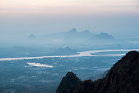 Limestone karst mountains around Hpa An, seen from Mount Zwegabin at sunset, Kayin State (Karen State), Myanmar (Burma)