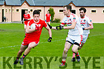 Waterville's Oran Clifford gets away from St. Pat's Liam Poff and David O'Callaghan  at the Credit Union Senior Football League Div.2 Round 5 St. Pat's Blennerville V Waterville at the Blennerville GAA Ground on Saturday
