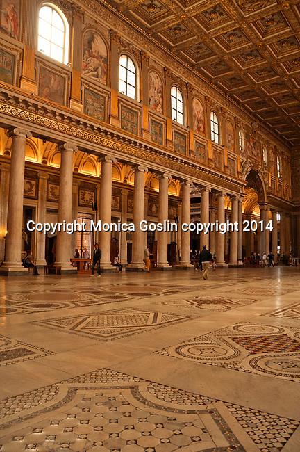 Interior of the 5th century Basilica Papale di Santa Maria Maggiore in Rome, Italy