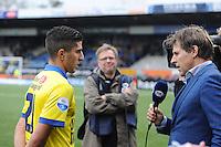 VOETBAL: LEEUWARDEN: 26-10-2014, Canbuurstadion, Cambuur - Feyenoord, uitslag 0-1, Mohamed El Makrini (Cambuur), Toine van Peperstraten (FOX sports), ©foto Martin de Jong