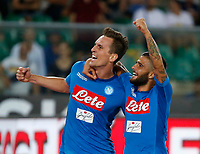 Arkadiusz Milik  and Lorenzo Insigne  celebrates after scoring during the  italian serie A soccer match,between Hellas Verona and SSC Napoli  at  the Bentegodi    stadium in Verona  Italy , August 19, 2017