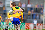 Stephen O'Brien, Kerry in action against Martin McMahon, Clare in the Munster Senior Championship Semi Final in Cusack Park, Ennis on Sunday.