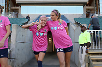 Cary, North Carolina  - Saturday September 09, 2017: Denise O'Sullivan and Stephanie Ochs prior to a regular season National Women's Soccer League (NWSL) match between the North Carolina Courage and the Houston Dash at Sahlen's Stadium at WakeMed Soccer Park. The Courage won the game 1-0.
