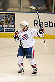 March 13, 2009:  Left Wing Michael Duco (14) of the Rochester Amerks, AHL affiliate of the Florida Panthers, celebrates a goal in the first period during a game at the Blue Cross Arena in Rochester, NY.  Toronto defeated Rochester 4-2.  Photo copyright Mike Janes Photography 2009