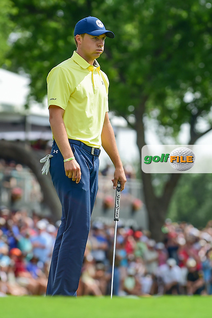 Jordan Spieth (USA) lets out a heavy sigh after sinking his par putt on 18 during round 4 of the Dean &amp; Deluca Invitational, at The Colonial, Ft. Worth, Texas, USA. 5/28/2017.<br /> Picture: Golffile | Ken Murray<br /> <br /> <br /> All photo usage must carry mandatory copyright credit (&copy; Golffile | Ken Murray)