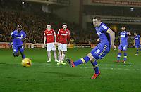 Barnsley v Leeds..EFL Championship 21.1.17 .... Leeds Chris Wood scores from the spot