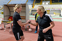 20180305 - LARNACA , CYPRUS : Swiss head coach Martina Voss-Tecklenburg pictured with Welsh coach Jayne Ludlow (left) during a women's soccer game between Switzerland and Wales , on monday 5 March 2018 at GSZ Stadium in Larnaca , Cyprus . This is the third game in group A for Switzerland and Wales during the Cyprus Womens Cup , a prestigious women soccer tournament as a preparation on the World Cup 2019 qualification duels. PHOTO SPORTPIX.BE   DAVID CATRY