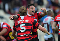Seb Siataga and Mitchell Dunshea (5) celebrate winning the Mitre 10 Cup & Ranfurly Shield rugby match between Canterbury and North Harbour at Orangetheory Stadium in Christchurch, New Zealand on Sunday, 13 October 2019. Photo: Dave Lintott / lintottphoto.co.nz