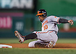 25 August 2016: Baltimore Orioles outfielder Adam Jones slides safely into 3rd in the 4th inning against the Washington Nationals at Nationals Park in Washington, DC. The Nationals blanked the Orioles 4-0 to salvage one game of their 4-game home and away series. Mandatory Credit: Ed Wolfstein Photo *** RAW (NEF) Image File Available ***