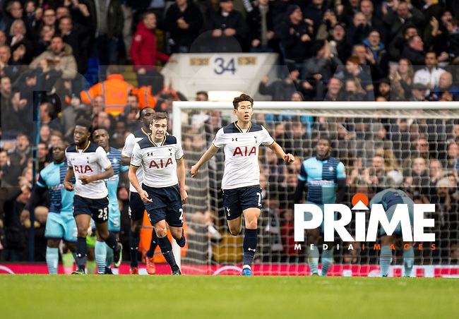 Son Heung-Min of Tottenham Hotspur celebrates his goal during the FA Cup 4th round match between Tottenham Hotspur and Wycombe Wanderers at White Hart Lane, London, England on the 28th January 2017. Photo by Liam McAvoy.