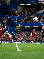 Tammy Abraham of Chelsea during the Premier League match between Chelsea and Liverpool at Stamford Bridge, London, England on 22 September 2019. Photo by Liam McAvoy / PRiME Media Images.