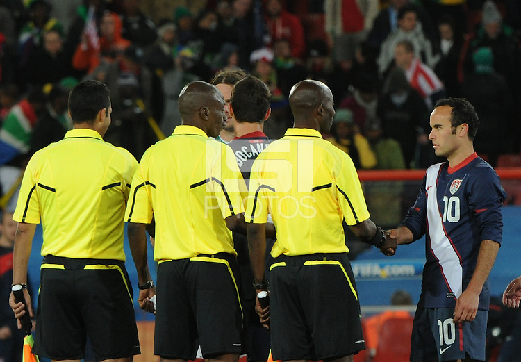 Landon Donvan stares down referee Koman Coulibaly folllowing the match with Slovenia. The United States came from a 2-0 halftime deficit to Slovenia to earn draw their second match of play in Group C of the 2010 FIFA World Cup. Coulibaly disallowed a would-be winning goal by the United States in the 86th minute.