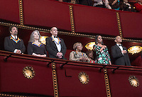 (L-R) 2016 Kennedy Center Honorees actor Al Pacino, pianist Martha Argerich, singer James Taylor, singer Mavis Staples, First Lady Michelle Obama and Us President Barack Obama listen to the National Anthem at the Kennedy Center, December 4, 2016, Washington, DC.  The 2016 honorees are: Argentine pianist Martha Argerich; rock band the Eagles; screen and stage actor Al Pacino; gospel and blues singer Mavis Staples; and musician James Taylor. Photo Credit: Aude Guerrucci/CNP/AdMedia