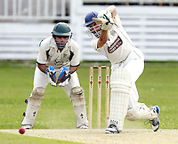James Williams bats for South Hampstead during the Middlesex County Cricket League Division Three game between North London and South Hampstead at Park Road, Crouch End on Sat June 21, 2014.