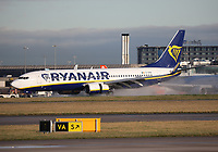 A Ryanair Boeing 737-8AS Registration EI-DPB at Manchester Airport on 11.2.19 arriving from Valencia Airport, Spain.