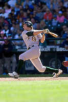 September 28, 2008: Oakland Athletics' Chris Denorfia ropes a two-run double off Seattle Mariners starter R.A. Dickey during a game at Safeco Field in Seattle, Washington.