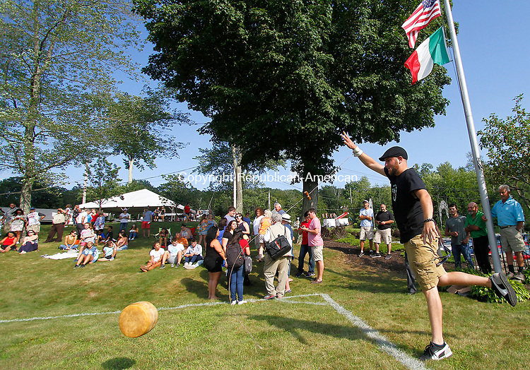WATERBURY, CT - 08 AUGUST 2017 - 080517JW06.jpg -- Franco Rinaldi of Waterbury looks to win again the rolling of the cheese contest during the Festa di San Donato Saturday evening at the Pontelandolfo Community Club.  Jonathan Wilcox Republican-American