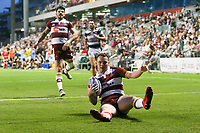 Picture by David Neilson/SWpix.com/PhotosportNZ - 10/02/2018 - Rugby League - Betfred Super League - Wigan Warriors v Hull FC  - WIN Stadium, Wollongong, Australia - Wigan's Liam Marshall scores his second try against Hull FC.