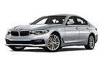 Stock pictures of low aggressive front three quarter view of a 2019 BMW 5 Series 540i Sport Line 4 Door Sedan