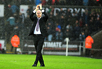 Burnley manager Sean Dyche  applauds the fans at the final whistle <br /> <br /> Photographer Ashley Crowden/CameraSport<br /> <br /> The Premier League - Swansea City v Burnley - Saturday 10th February 2018 - Liberty Stadium - Swansea<br /> <br /> World Copyright &copy; 2018 CameraSport. All rights reserved. 43 Linden Ave. Countesthorpe. Leicester. England. LE8 5PG - Tel: +44 (0) 116 277 4147 - admin@camerasport.com - www.camerasport.com