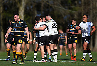 TORONTO, ON - MAY 05:  Gareth O'Brien #31 of the Toronto Wolfpack celebrates a try with Olsi Krasniqi #21 and Sam Hopkins #28 in the second half of a Betfred Championship match against the Swinton Lions at Fletcher's Fields on May 5, 2018 in Toronto, Canada.  (Photo by Vaughn Ridley/SWpix.com)
