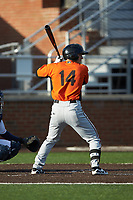 Jake Ring (14) of the Frederick Keys at bat against the Buies Creek Astros at Jim Perry Stadium on April 28, 2018 in Buies Creek, North Carolina. The Astros defeated the Keys 9-4.  (Brian Westerholt/Four Seam Images)