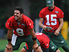 Bryce Petty #9, left, laughs as he stretches during New York Jets Training Camp at the Atlantic Health Jets Training Center in Florham Park, NJ on Thursday, Aug. 10, 2017.
