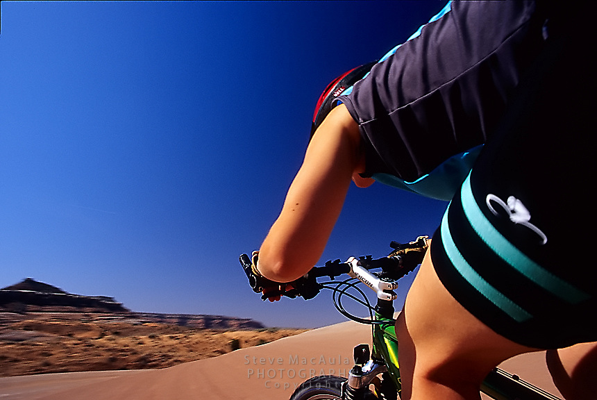 POV Point of View shot of mountain biker with motion, Bartlett Wash, Moab, Utah