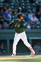 Right fielder Victor Acosta (11) of the Greenville Drive bats in a game against the Charleston RiverDogs on Sunday, April 29, 2018, at Fluor Field at the West End in Greenville, South Carolina. Greenville won, 2-0. (Tom Priddy/Four Seam Images)