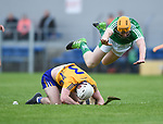 Ross Hayes of Clare in action against Seamus Flanagan of Limerick during their Munster U-21 hurling quarter final at Cusack park. Photograph by John Kelly.