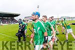 Kilmoyley and Liam Boyle Ballyduff players after a draw in the County Senior Hurling Final at Austin Stack Park on Sunday.