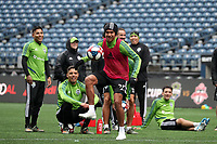 SEATTLE, WA - NOVEMBER 9: Xavier Arreaga #25 of the Seattle Sounders FC takes a shot at CenturyLink Field on November 9, 2019 in Seattle, Washington.