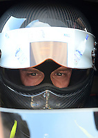 Jun. 29, 2012; Joliet, IL, USA: NHRA top fuel dragster driver Brady Kalivoda during qualifying for the Route 66 Nationals at Route 66 Raceway. Mandatory Credit: Mark J. Rebilas-