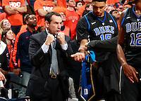 Duke head coach Mike Krzyzewski during an ACC basketball game Jan. 31, 2015 in Charlottesville, VA. Duke won 69-63.