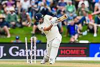 Mark Wood of England  is bowled by Colin De Grandhomme of the Black Caps during Day 4 of the Second International Cricket Test match, New Zealand V England, Hagley Oval, Christchurch, New Zealand, 2nd April 2018.Copyright photo: John Davidson / www.photosport.nz