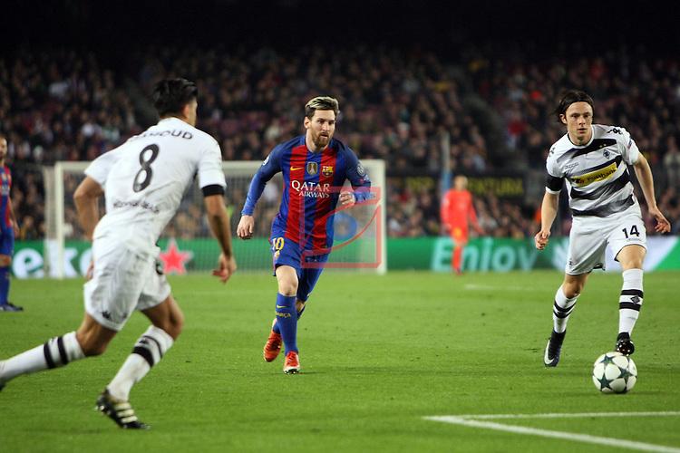 UEFA Champions League 2016/2017 - Matchday 6.<br /> FC Barcelona vs VfL Borussia Monchengladbach: 4-0.<br /> Mahmoud Dahoud, Lionel Messi &amp; Nico Schulz.