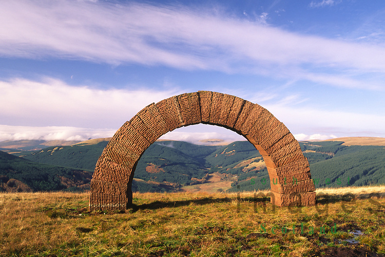 Andy Goldsworthy's Striding Arches sculptures on Bail Hill looking up Dalwhat glen to Cairnhead Dumfries and Galloway Scotland UK