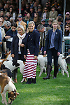 Stamford, Lincolnshire, United Kingdom, 8th September 2019, HRH The Countess of Wessex and Lady Louise Windsor with the Fitzwilliam Hunt hounds during their visit to the 2019 Land Rover Burghley Horse Trials, Credit: Jonathan Clarke/JPC Images
