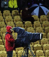 A Sky cameraman shoots the match from halfway. Air New Zealand Cup rugby match - Taranaki v Auckland at Yarrows Stadium, New Plymouth, New Zealand. Friday 9 October 2009. Photo: Dave Lintott / lintottphoto.co.nz
