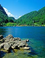 Austria, Upper Austria, Salzkammergut, near Strobl: Schwarzensee (Black Lake) | Oesterreich, Oberoesterreich, Salzkammergut, bei Strobl: Schwarzensee