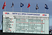 A general view of the scoreboard as seen on the 18th hole during the second round of the 118th U.S. Open Championship at Shinnecock Hills Golf Club in Southampton, NY, USA. 15th June 2018.<br /> Picture: Golffile | Brian Spurlock<br /> <br /> <br /> All photo usage must carry mandatory copyright credit (&copy; Golffile | Brian Spurlock)