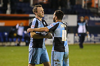 Garry Thompson of Wycombe Wanderers and Sam Wood of Wycombe Wanderers after the Sky Bet League 2 match between Luton Town and Wycombe Wanderers at Kenilworth Road, Luton, England on 26 December 2015. Photo by David Horn.