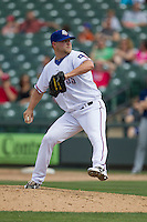 Round Rock Express pitcher Evan Meek #47 delivers a pitch to the plate against the New Orleans Zephyrs in the Pacific Coast League baseball game on April 21, 2013 at the Dell Diamond in Round Rock, Texas. Round Rock defeated New Orleans 7-1. (Andrew Woolley/Four Seam Images).