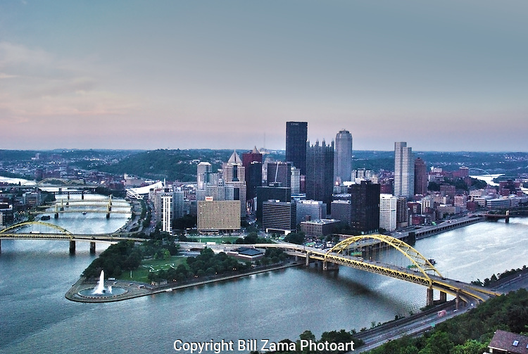 Pittsburgh's Golden Triangle at the confluence of the Allegheny, Monongahela and Ohio Rivers.