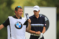 Simon Thornton (IRL) and caddy during day one of the BMW Italian Open presented by CartaSi, at Royal Park I Roveri,Turin,Italy..Picture: Fran Caffrey/www.golffile.ie.